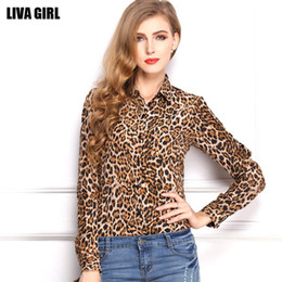 Wholesale Ladies Blouses Leopard Print - Sexy Leopard Print Chiffon Blouses Shirt Summer Work Loose Long Sleeve New Women Clothing Ladies Blouse Tops For Women