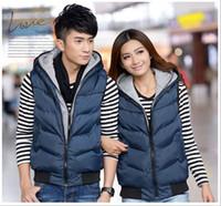 Wholesale Men Vest Jacket Hood - Men`s Eiderdown Cotton Vest Solid Sleeveless Vest With Hood Waistcoat Thicken Plaid Jacket For Men Plus Size Free Shipping 5XL