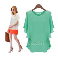 plus größe grün polyester bluse großhandel-Summer Style Plus Size Damen Bekleidung Tops Kurzarm Chiffon Bluse Big Size Schwarz Grün Shirt Blusas Feminina Sommer Frauen Freizeit blous