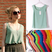 Wholesale Wholesale Women Korean Vest - Cute Korean Fashion Womens Slim Chiffon Tops Sleeveless Shirt Casual Blouse Vest Lace chiffon vest Spring summer the new women wear cond