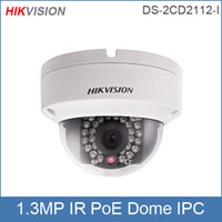 Hikvision IP-Kamera DS-2CD2112-I, 4 mm (2,8 mm optional) 1.3MP HD 720P Dome-Netzwerk-Kamera Infrarot-CCTV-Kamera POE IP66