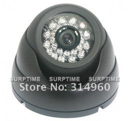 Wholesale Ccd 24 Ir - Free Shipping Black 24 IR LED Sharp CCD Dome Color CCTV Camera 420 TVL 40pcs lot