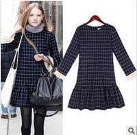 Wholesale Grid Floor - New 2015 Autumn Vintage Women's Winter Dress Plaid Grid Long Sleeve Dress Casual Swallow Gird Feniminos Vestido Women Cloth 2047