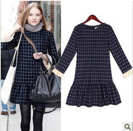 Wholesale Long Sleeve Vintage Plaid Dress - New 2015 Autumn Vintage Women's Winter Dress Plaid Grid Long Sleeve Dress Casual Swallow Gird Feniminos Vestido Women Cloth 2047