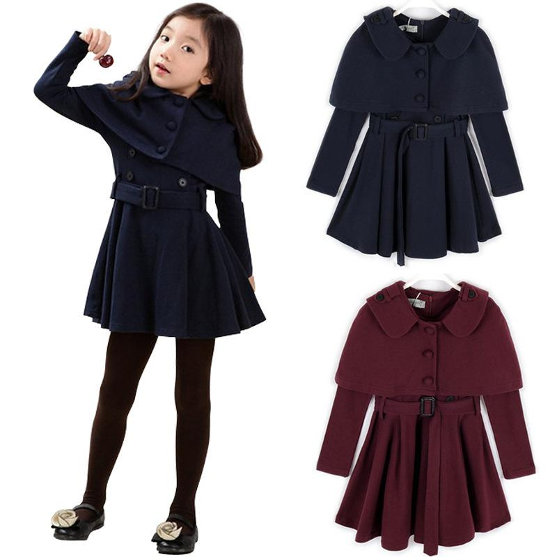 Girls 2015 Autumn Fall Winter Fashion Kids Long Jackets Coat ...
