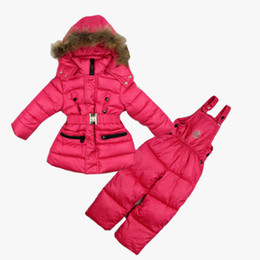 Wholesale Snowsuits Child - 2015 New children girls winter clothing sets kids thick warm ski garments snowsuits fur hooded outerwear + overalls set