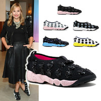 Wholesale Women Travelling Shoes - Top Quality Womens Sports Shoes Sequins Beads Flowers Comfort Sneakers Walking Travel Shoes 6 Colors Free Shipping