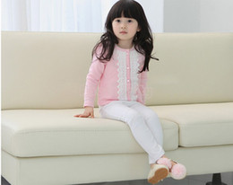Wholesale Girls Sweet Coat - 2015 New Girls Spring-autumn outerwear girl's casual sweet lace o-neck kids jackets & coats cotton knitted cardigan 38