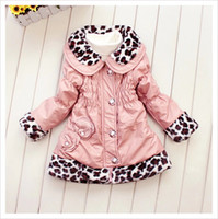 Wholesale Girls Leather Leopard Jacket - 2015 new girls outerwear winter&autumn children pu leather overcoat kids fashion leopard jacket girls clothing outfits 103A