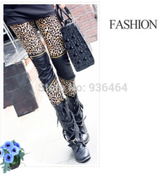 Wholesale Leopard Stretch Pants - 2015 Women's Sexy Imitation Leather Patchwork Zipper Leopard Thin Stretch Tights Skinny Pants Free Shipping 100331