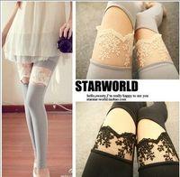 Wholesale Sexy Leggings Korea - 1pcs Free shipping Slim Fit Artificial women fashion Leggings Lace Stitching sexy cute pant Korea Japan style