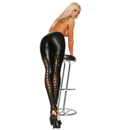 Wholesale Leather Back Leggings - T2366 leggings leather with belt on the back novelty top seller leather pants perfect design best selling faux leather leggings
