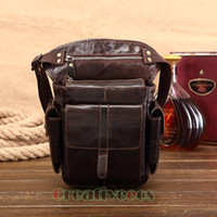 Wholesale Drop Leg Fanny - Men's Cowhide Oil Wax Geunine Leather Travel Hiking Motorcycle Messenger Shoulder Hip Belt Fanny Pack Waist Thigh Drop Leg Bag