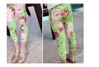 Wholesale Colorful Leggings For Girls - Cotton Leggings For Girl Fashion Children Print Colorful Denim Trousers Girls Printing Flower Pants 2015 Summer 2-7 Years