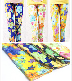 Wholesale Colorful Leggings For Kids - New 2015 Children pants clothing milk silk extreme skin-friendly colorful flower kids pants leggings for girls 5 colors 10 sizes