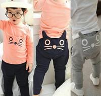 Wholesale Childrens Harem Pants - Retail 2015 spring autumn kids clothing boys girls kitty harem pants 100% cotton owl trousers new childrens pants