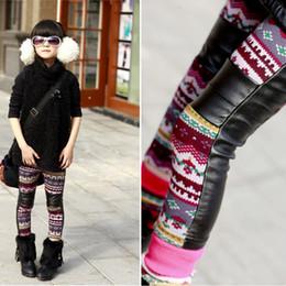 Wholesale Girls Panty Wear - Free shipping Winter new children's wear girl's snow cortex splicing and velvet girl render pants panty