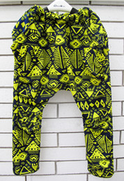 Wholesale Neon Harem Pants - KNB summer children haren pants neon green doodle girl trousers personality girls harem pants knee-length kids jeans AP002