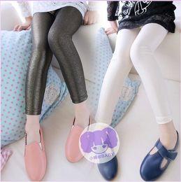 Wholesale Cheap Girls Black Leggings - 2015 Retail 2-14T Kids Leggings Fashion Spring&Autumn Glossy Girls Leggings Cheap Sknny Children Pencil Pants c20