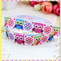 Wholesale Fold Over Elastic Free Shipping - 5 8'' Free shipping Fold Over Elastic FOE owl printed headband hair band diy decoration wholesale OEM B537