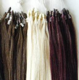 Wholesale Indian Micro Loop - STOCK 18 20 22 inch #60 Indian remy human Loop micro ring hair extensions 0.5g 0.8g 1g strand 100g pck