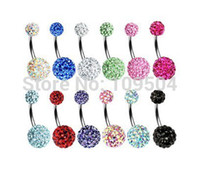 Bouton Ventre Percé Shamballa Pas Cher-Crystal Double Disco Ball Ferido Belly Bar Navel Bague à ventre Bague Shamballa Belly Ring Piercing bijoux 10mm