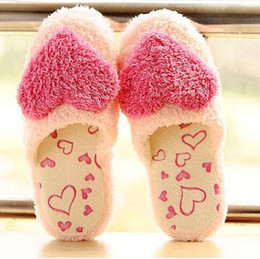 Wholesale Warm Slippers For Women - Women sweet warm plush home slippers winter cute heart patterns classy soft fluffy indoor slipper home shoes supplies for lovers