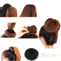 Hair Donut Bun Ring Shaper Roller Styler Maker Black Hairdressing Elastic Round Nylon Wire 1NIP
