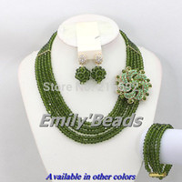 Wholesale Dark Green Jewelry Sets - Top Quantily African Costume Necklace Set 5 Rows Crystal Beads Jewelry Set Olive Green Nigerian Wedding Beads Jewelry Set AEJ092