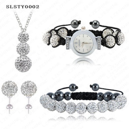 Wholesale Handmade Clay Watches - Handmade Shamballa Set 10mm AB Clay Crystal Diso Ball Beads Set Watch Necklace Bracelet Earrings Set Mix Colors Option SLSTYmix1