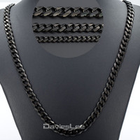 Wholesale Black Curb Chain Necklace - 3 5 7mm 18-36inch Mens Boys Black Tone CURB CUBAN Link Necklace Stainless Steel Chain Gift Wholesale Price DLKNM09