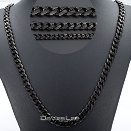 Wholesale Stainless Chain Prices - 3 5 7mm 18-36inch Mens Boys Black Tone CURB CUBAN Link Necklace Stainless Steel Chain Gift Wholesale Price DLKNM09