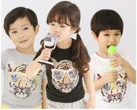 Wholesale Kids Shirts Glasses - Big Sale Children Summer T Shirts Fashional Tiger Wearing Glasses Print Kids Cotton T Shirt Boys&Girls Short Sleeve Tees