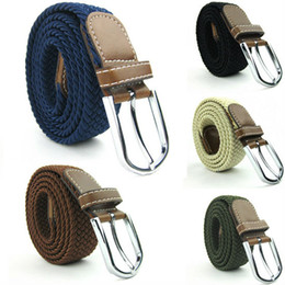 Wholesale Plain Metal Belt Buckles - Mens Womens Canvas Plain Webbing Metal Buckle Woven Stretch Waist Belt Colors