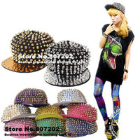 Wholesale Wholesale Red Spikes Studs - high quality Bigbang personality jazz hat snapback cap Men  Women Spike Studs Rivet Cap Hat Punk style Rock Hiphop For Pick