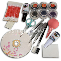 Wholesale individual eyelashes extensions kit - Professional Makeup False Eyelash Extension Cosmetic Set Kit Eye Individual Hand Made Natural Long Lashes