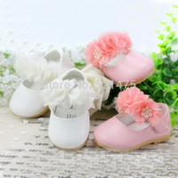 Wholesale White Pink Christening Shoes - New Design 2015 Baby Girls Christening Shoes Infant Toddler Baby Girl Soft PU Leather Baby Shoe First Walkers Newborn Gifts