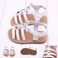 Wholesale Toddler Crystals Shoes - 2015 New White Summer Baby Crystal Flat PU Sandals First Walkers Baby Kids Toddler Anti-slip Outdoor Shoes Infant Girls Shoes