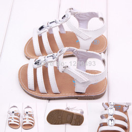 Wholesale Wholesale Crystal Baby Shoes - 2015 New White Summer Baby Crystal Flat PU Sandals First Walkers Baby Kids Toddler Anti-slip Outdoor Shoes Infant Girls Shoes