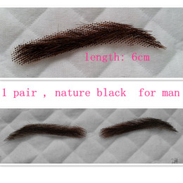 Wholesale Eyebrow Stickers - 1 pair false eyebrows for man style fake eyebrow sticker 100% human hair with lace hand made false eyelash nature black