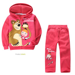 Chinese  new! Retail children clothing set, Baby Girls Masha Bear Warm Suit, hoody jacket+pants cartoon clothes kids sportswear manufacturers