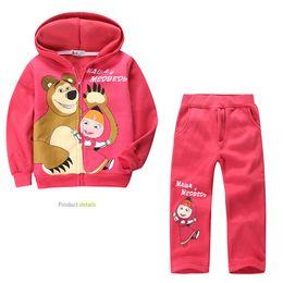 Wholesale Girls Hoody Sets - new! Retail children clothing set, Baby Girls Masha Bear Warm Suit, hoody jacket+pants cartoon clothes kids sportswear