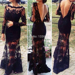 Wholesale Women Crochet Party Dress - Women Sexy Lace Slit Backless Crochet Floor Maxi Evening Party Long Club Dress Black FATE