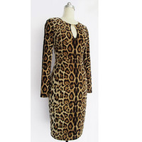 Womens Berühmtheit Sexy Langarm Leopard Schlüsselloch Tunika Cocktail Party Club Clubwear Bodycon Bleistift Etuikleid XL, XXL 1216
