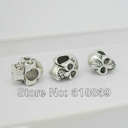 Wholesale Bead Skulls - Free Shipping 30pcs lot Antique Silver Alloy 8*9*12mm 3d Double-sided Skull Beads Fit Bracelets 6233