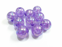Wholesale Purple Chunky Beads - Hot Sale ! 20MM 100pcs lot Purple Crack Beads With AB Effect ,Chunky Beads For Kids Necklace