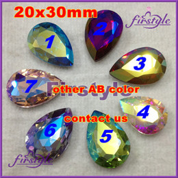 Wholesale Siam Fancy Stone - 20x30mm 60PCS pear glass crystal beads All AB colors :Green,Lt siam,Blue,Pink,crystal AB,drop fancy stone free shipping