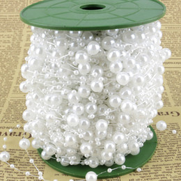 Wholesale Wire Rope Roll - 60m Roll 8mm White Plastic Pearl Beaded Chain Garland Wire Wedding Flower Centerpiece Bouquet Decoration DIY Rope Strands Chain