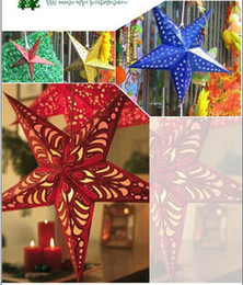 Wholesale Christmas Star Lampshade - new Bright Lampshade Star Paper Lantern Hanging Wedding Xmas Decor 30cm 65000-65005
