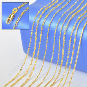 "2015 Sample Order 18"" Mix 10 Kinds 18K Solid Yellow Gold Filled VenFigaro Rolo Curb Necklace Chains 18K-GF Stamped 1.2-2MM"